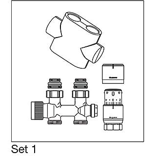 Oventrop Badheizkörper Zubehör Set Multiblock/Mittenanschluss Armatur Thermostatkopf in Durchgangsform, Farbe Abdeckung:weiß
