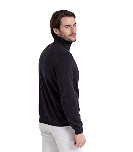 WoolOvers Strick-Pullover mit Zip-Kragen - Herren (Cotton-Cashmere) - C24 Charcoal