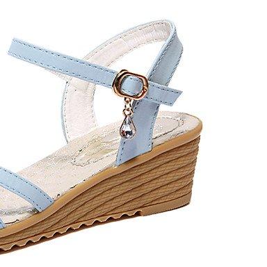 LvYuan Damen-Sandalen-Outddor Kleid Lässig-Kunstleder-Keilabsatz Plateau-Gladiator-Blau Beige Blue