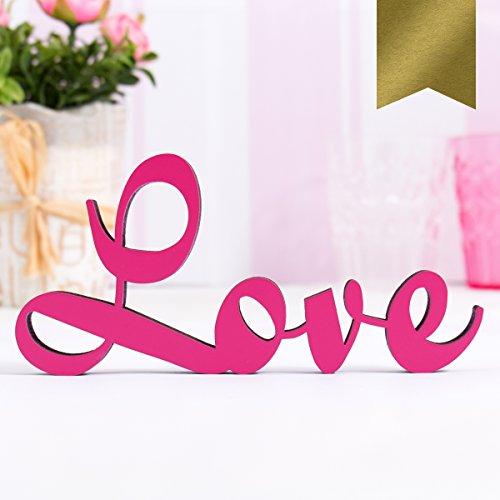 KLEINLAUT 3D-Schriftzug Love in Größe: 25 x 11,8 cm - Dekobuchstaben - 32 Farben zur Wahl - Gold
