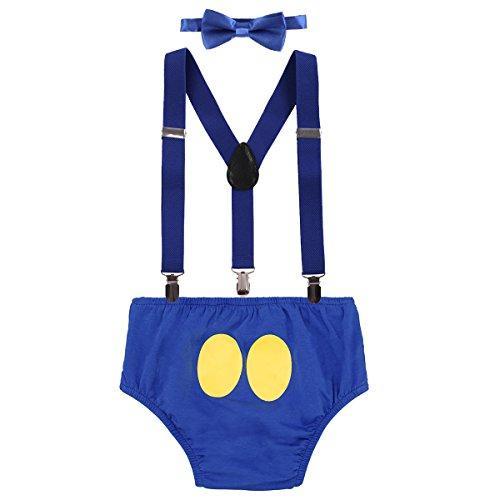 IWEMEK Baby 1. / 2./ 3. Geburtstag Kostüm Jungen Mädchen Donald Duck Karneval Cospaly Outfit Hosenträger Hosen mit Fliege Stirnband 3pcs / 4pcs Bekleidungssets Fotoshooting Cartoon 10 12-18 Monate
