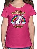 Einschulung und Schulanfang - Bye Bye Kindergarten ich Glitzer jetzt in der Schule - 128 (7/8 Jahre) - Fuchsia - F131K - Mädchen Kinder T-Shirt