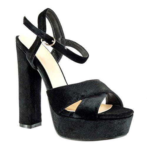 Angkorly Chaussure Mode Sandale Escarpin Plateforme Ouverte Femme Lanière Multi-Bride Talon Haut Bloc 14 CM Noir