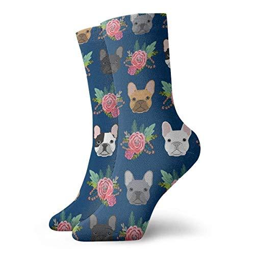 AORSTAR Socken Socks Breathable French Bulldog Flowers Crew Sock Exotic Modern Women & Men Printed Sport Athletic Socks 11.8in (Socke Athletic-crew 6 Pack)