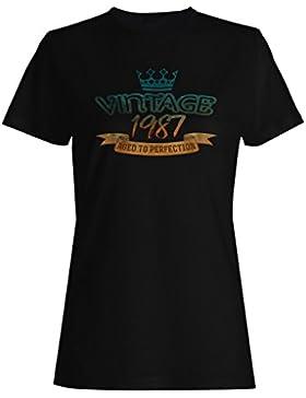 Vintage 1987 Envejecido a la perfección hecho en llevado camiseta de las mujeres kk86f