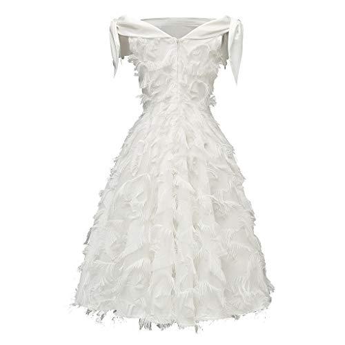 LSAltd Sommer-Frauen Arbeiten reizvolles kaltes Schulter-Halter-A-Line Kleid-Elegantes reines Farben-Troddel-Partei-Abschlussball-Abend-Schwingen-Kleid um -