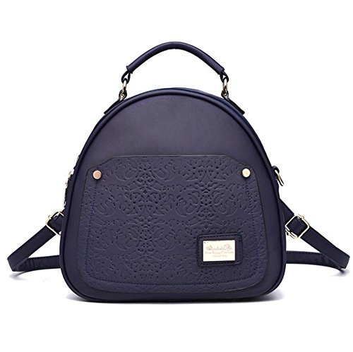 LDMB Damen-handtaschen Koreanische lässig PU-Leder geprägte Frauen Volltonfarbe Oval Rucksack Tasche treasure blue