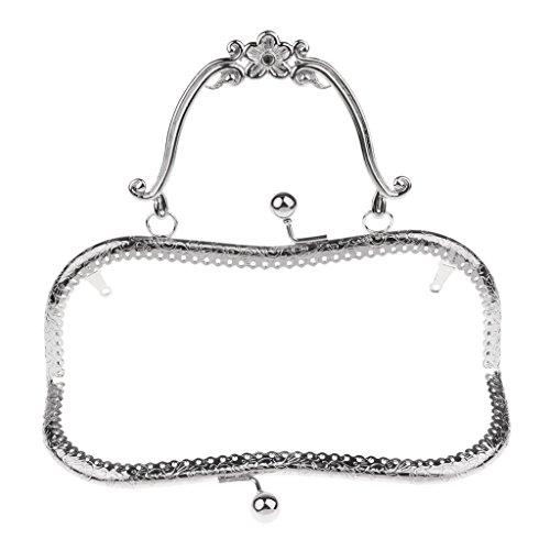 perfk Metall Taschenverschluss Taschengriffe Taschenbügel mit Strass Kristall Kuss Schließe Rahmen für Handtaschen Geldbörsen Abnedtasche Portemonnaie - Farbe 2