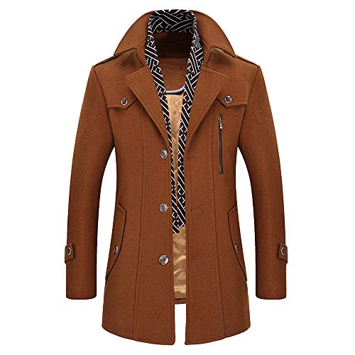 TWBB Herren Winter Geschäft Windjacke Lange Verdicken Tailcoat Jacket Outwear Knöpfe Mantel Coat Einfarbig Lange Ärmel Hemd