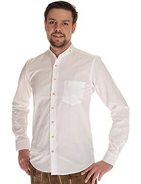 Almsach Trachtenhemd Herren Hemd langarm weiß Hemd Tracht mit Stehkragen