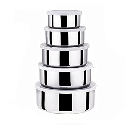 Tree in Art Stainless Steel Crisper Five Piece Fresh Bowl Round with Lid