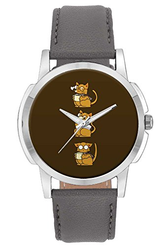Wrist Watch - Cat Coffee And Glasses Analog Men's and Boy's Wrist Watch - Unique Analog Quartz Leather Band Wrist Watch by BigOwl