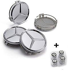 Hubcaps Compatible Mercedes 60mm Silver - Class A B C E CLK GL M ML SLK - for Alloy Wheel Rims