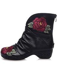 Chaussure à cheville 4.5cm Chunkly Talon Round Toe Chaussures en coton brodé Automne et hiver Nouvelles femmes Retro Zipper National Wind Martin Boots Eu Taille 35-39