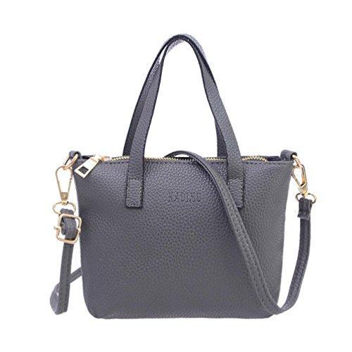 - 41dmJaL08dL - Bluester Mini Vintage Purse Bag Women Fashion Handbag Shoulder Bag Large Tote Ladies Purse Messenger Bags (gray)