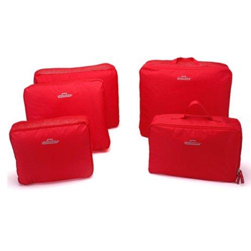 DEHANG-Nylon 5pcs/set Portatile antipolvere imballaggio cubo Underwear Storage Bag Organizer vestiti accessori Kit da viaggio bagagli Red