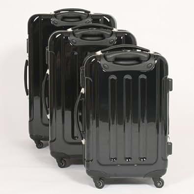Set de 3 valises Polycarbonate Ensemble Trolley Noire