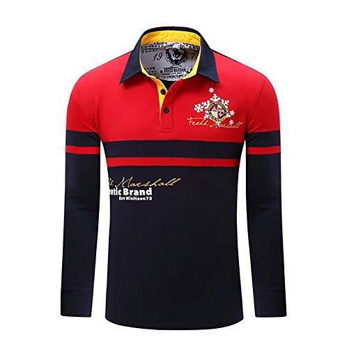 Herren Poloshirt langarm Herren T-Shirts Baumwolle Frühling Langarm Golf Shirt Besticktes Logo Knit Polo Shirt Top (Besticktes Langarm-shirt)