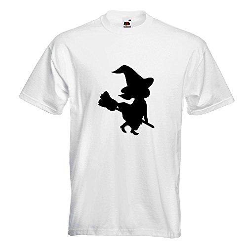 KIWISTAR - Hexe auf Besen Halloween Grusel Horror T-Shirt in 15 verschiedenen Farben - Herren Funshirt bedruckt Design Sprüche Spruch Motive Oberteil Baumwolle Print Größe S M L XL XXL Weiß