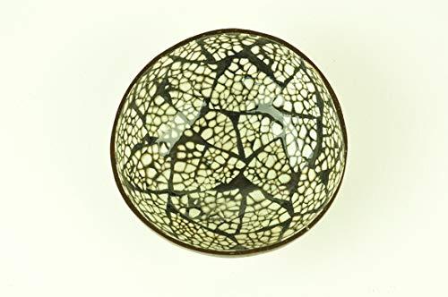 vnhomeware Bol Noix de Coco, Faite à la Main en Bois Naturel Bol, Bol en Bois Rond Brillant Peinture laqué incrusté avec Coquille d'œuf décoratif, Blanc, Noir, d'articles H007