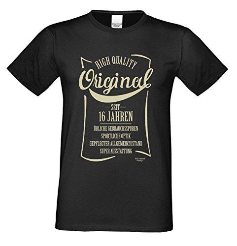 cooles Männer Herren T-Shirt Motiv Original seit 16 Jahren Outfit Klamotte Geschenk Geburtstag Jahrgang Altersgruppen Shirt Farbe: schwarz Schwarz