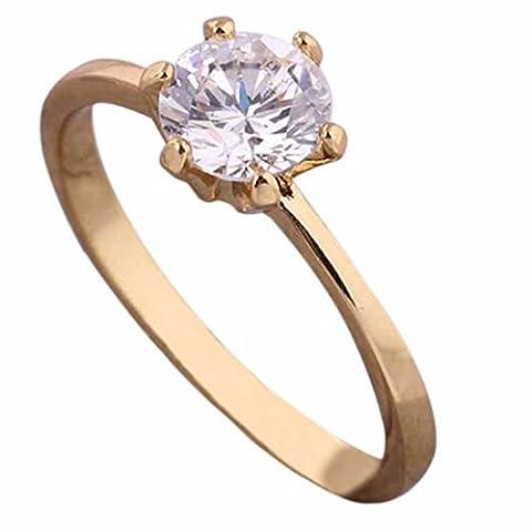 QIYUN.Z Golden/White Gold/Platinum Plated Copper Ring Rhinestone Simple Gift