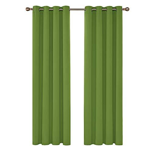 Deconovo Vorhang Blickdicht mit Ösen Gardinen Kinderzimmer Verdunkelungsvorhang ösen 245x140 cm Apfelgrün 2er Set