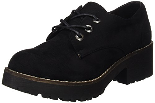 COOLWAY CHERBLU, Zapatos Cordones Oxford Mujer, Negro