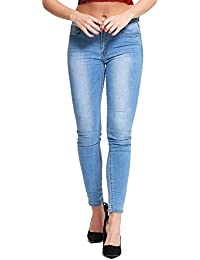 Simply Chic Outlet New Womens Mid Blue Wash Stretch Skinny Fit Jeans Distressed Denim