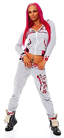 10536 Fashion4Young Damen Damen Jogginganzug Jacke Hose Sportanzug Sporthose Fitness Trainingsanzug (M/L=36/38, Hellgrau)