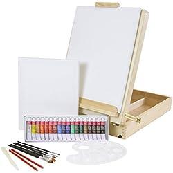 Meister Riva Mallette d'artiste de 35pièces avec chevalet de table XL + peinture acrylique, pinceaux + châssis
