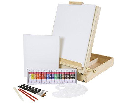 """XL-TISCHSTAFFELEI + Malset """"RIVA"""" 30-teilig mit Acrylfarben, Pinselset + 2x Keilrahmen, große Version für Bilder bis 70 cm, Utensilienkoffer, Kofferstaffelei"""