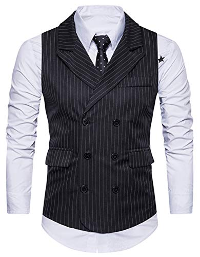 XTAPAN Herren Anzugsweste Weste Weste V-Ausschnitt formelle Business-Kleid Weste für Anzug oder Smoking - - L -