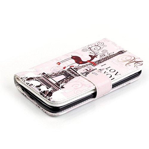 idatog Custodia a libro per iPhone 5C, con protezione per lo schermo in vetro temperato, chiusura magnetica, alta qualità, classica, colorata, design alla moda, in similpelle, con cordino, funzione st Eiffel Tower