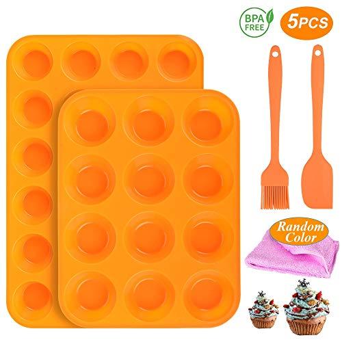 Silikon-Muffin-Pfannen-Set - 24 Tassen und normale 12 Tassen Muffinform, Antihaft-Pfanne BPA-frei 100% lebensmittelgeeignete Silikonformen mit Spateln & Ölbürste Spülmaschinenfest für Eier-Muffin-2St -