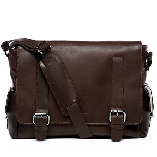 FEYNSINN Messenger Bag echt Leder Ashton XL groß Laptoptasche 15.4 Zoll Laptop Umhängetasche 15,6 Zoll Ledertasche Herren braun