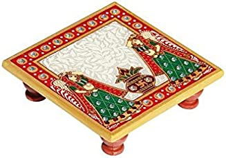 Handicrafts Paradise Kalash Design Marble Pooja Chowki (10.2 cm x 10.2 cm x 2.55 cm)