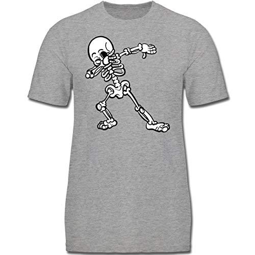 Anlässe Kinder - Dabbing Skelett - 128 (7-8 Jahre) - Grau meliert - F130K - Jungen Kinder T-Shirt