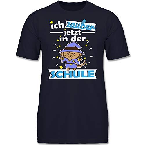 Einschulung und Schulanfang - Ich zauber jetzt in der Schule Zaubereräffchen - 152 (12-13 Jahre) - Dunkelblau - F130K - Jungen Kinder T-Shirt