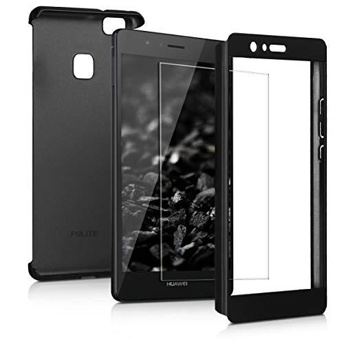 kwmobile Coque Huawei P9 Lite - Étui Double avec Protection écran - Coque pour Huawei P9 Lite - Noir métallique