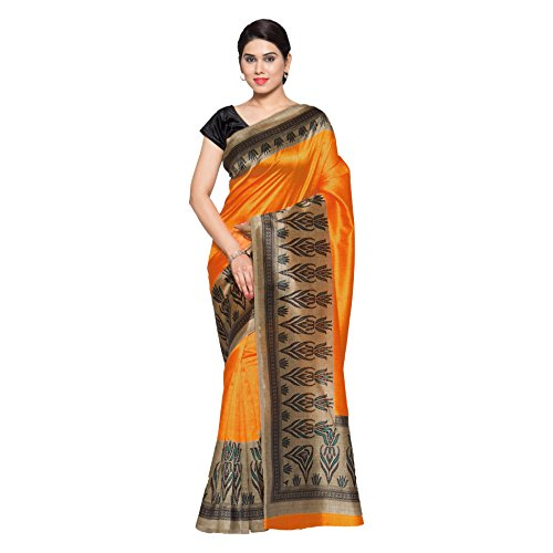 Oomph! Women's Art Silk Saree with Blouse Piece (rbks_Merigold Orange & Oatmeal...