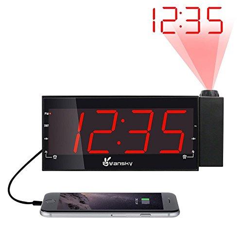 """Projektionswecker, Vansky® FM Radiowecker / Digital Uhr mit 1.8"""" LED-Display, USB-Aufladung, Dual-Wecker und Batterie-Backup"""