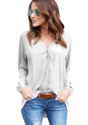 Yidarton Damen Bluse Chiffon Langarm Oberteile Elegante Mode Hemd Asymmetrisch Top (Grau, S) (Polyester-bluse Top)