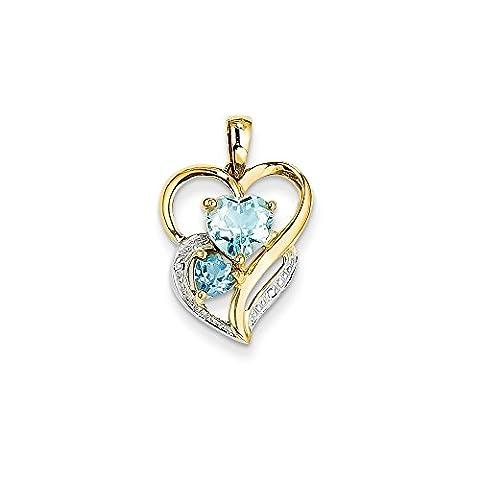 14ct Gelb Gold Diamant und Himmel Blau Topas Herz Anhänger