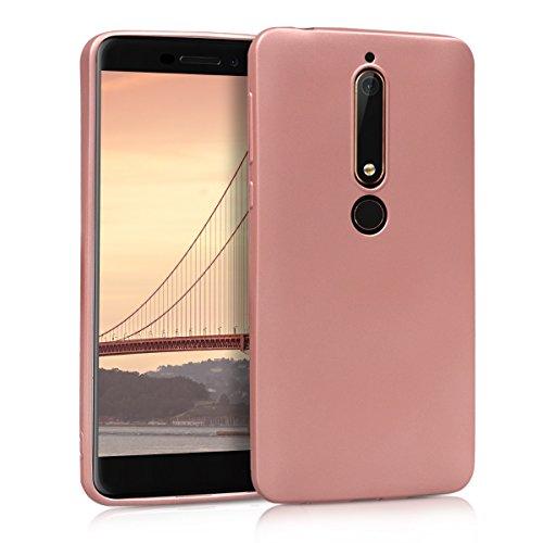 kwmobile Funda para Nokia 6.1 (2018) - Carcasa para móvil en [TPU Silicona] - Protector [Trasero] en [Oro Rosa Metalizado]