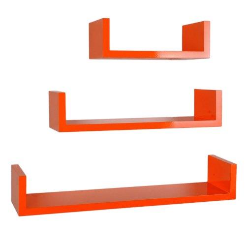 ts-ideen 3er Set Design Trend Regal Board in Orange als Wandregal Holz für CD DVD Bücher