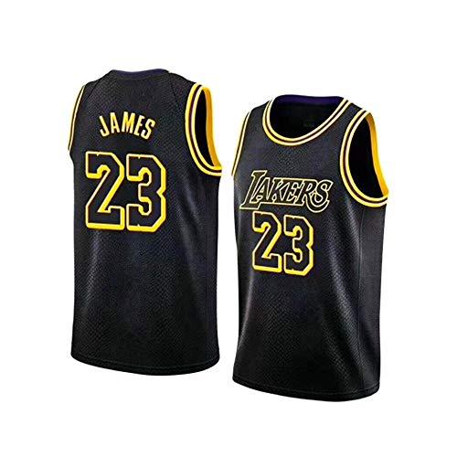 Lakers Lebron James # 23 Trikot, Ärmelloses Set für Jungen und Mädchen, Sweatshirt für Herren und Unisex, Basketballanzug Schwarz -S