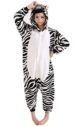 Z-Chen Herren Damen Jumpsuit Schlafanzug Tierkostüm für Halloween Karneval Fasching, Zebra, Gr.L (Körpergröße 168-178cm)