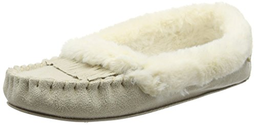Totes Totes Ladies Fringed Suedette Moccasin Slipper, Chaussons femme Beige - Beige (naturel)