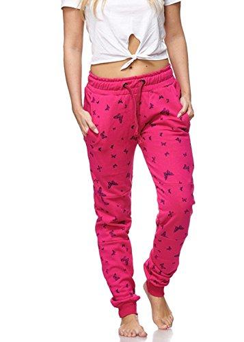 Akki Damen jogginghose Stern Anker Hose Sweathose mit Bündchen - schwarz,weiß farbe lang Sport fitness und für zuhasue tv schlabberhose oder Schlaf Anzug,verschiedene größen Butterfly Pink XXL